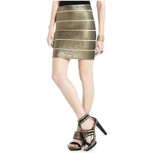BCBG POWER SKIRT GOLD SEQUIN BODYCON BANDAGE
